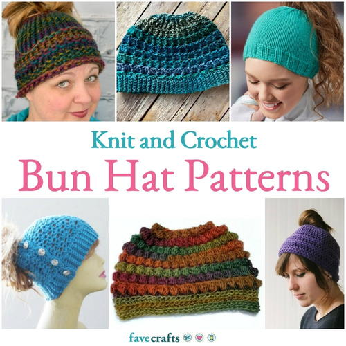 Knit and Crochet Bun Hat Patterns