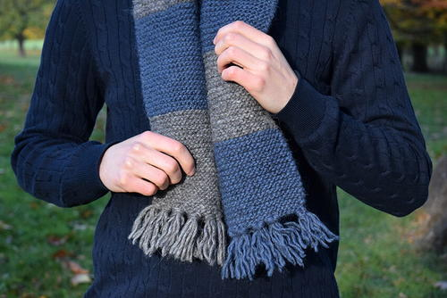 Easy Mens Striped Scarf Knitting Pattern | AllFreeKnitting.com