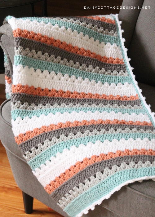 Quick And Simple Striped Baby Blanket Pattern Allfreecrochet