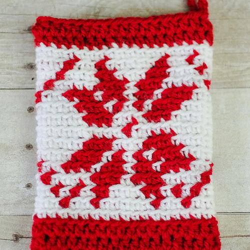 crochet fair isle snowflake christmas stocking