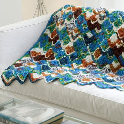 Fish Scales Tunisian Throw