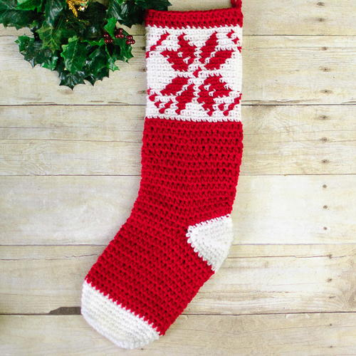 Fair Isle Snowflake Christmas Stocking