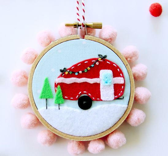 mini felt camper christmas ornament allfreesewingcom - Christmas Camper Decoration