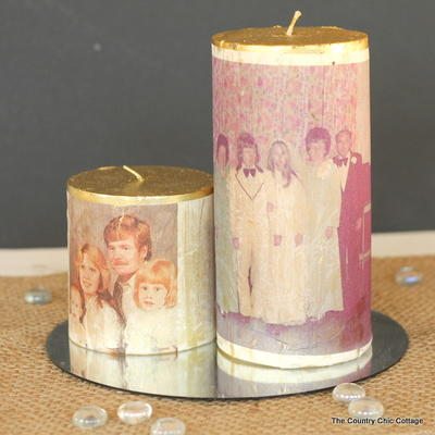 Wedding Day Photo Transfer Candles