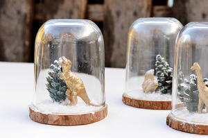Adorable Christmas Dinosaur Cloche Scenes