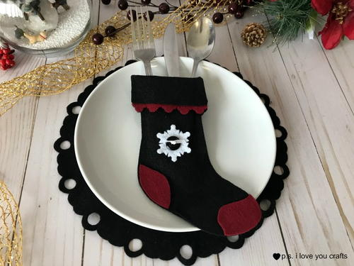 felt christmas stocking silverware holder - Christmas Silverware Holders