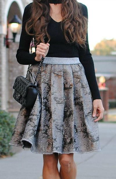 Silver DIY Pleated Skirt