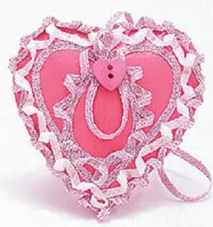 Pink Wood Valentine Heart with Iron on Ribbon