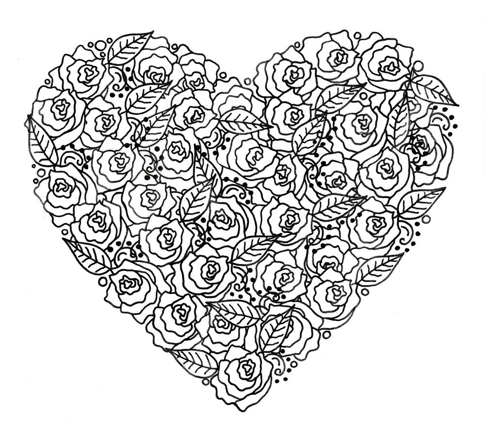 Rose Garden Heart Adult Coloring