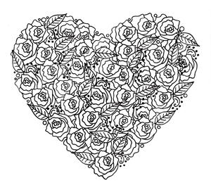 Rose Garden Heart Adult Coloring Page