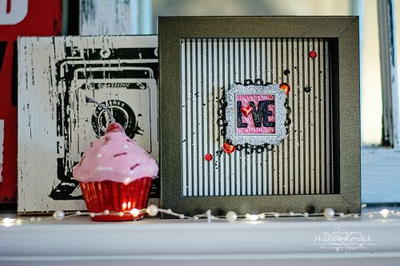 Bright Pink and Black Valentine Shadow Box