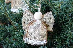 Burlap Angel Ornament