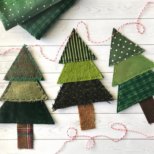 Rustic Fabric Christmas Tree Banner