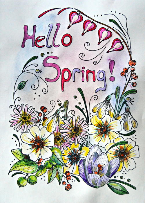 Hello Spring Adult Coloring Page