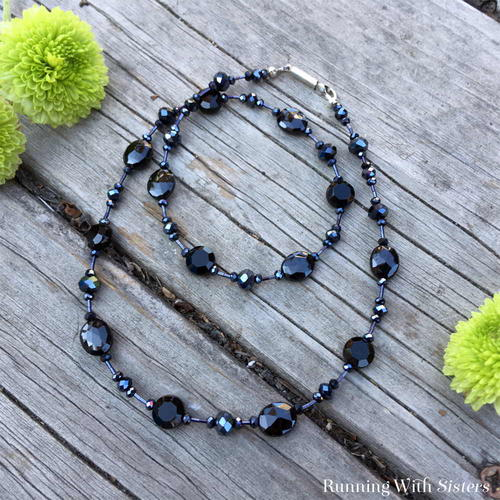 Black Tie Beaded Necklace