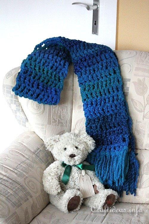 Chunky Blue Winter Scarf
