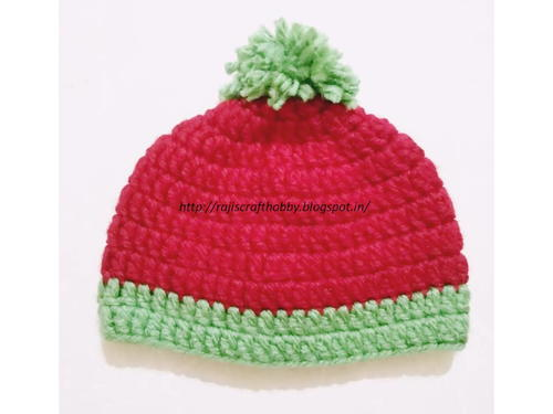 Red and Green Bulky Yarn Baby Hat