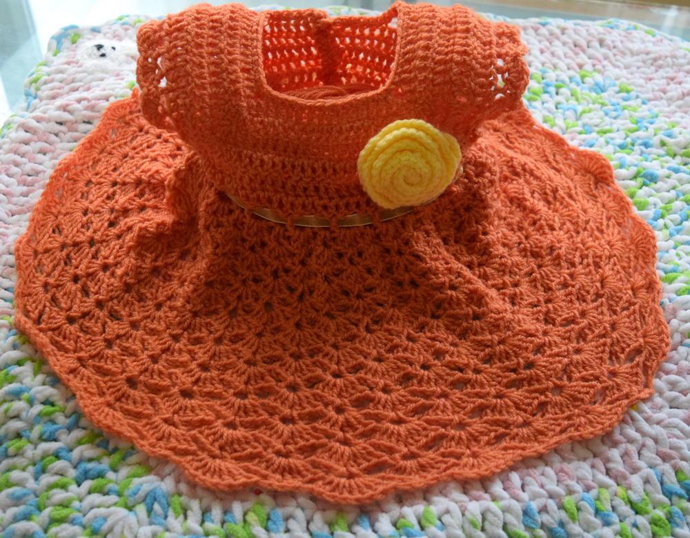 Salmon Pie Crochet Baby Dress Allfreecrochet