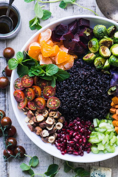 Black Rice Salad with Roasted Vegetables