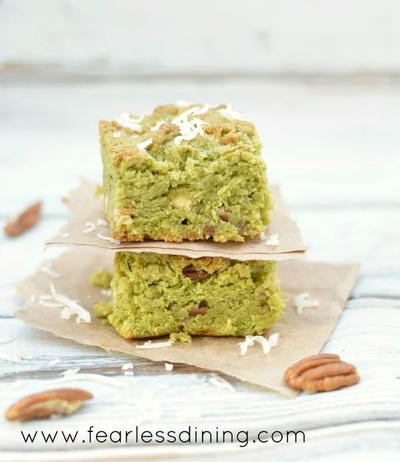 Gluten Free Matcha Coconut Cookie Bars