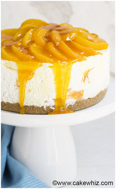Easy No Bake Peach Cheesecake