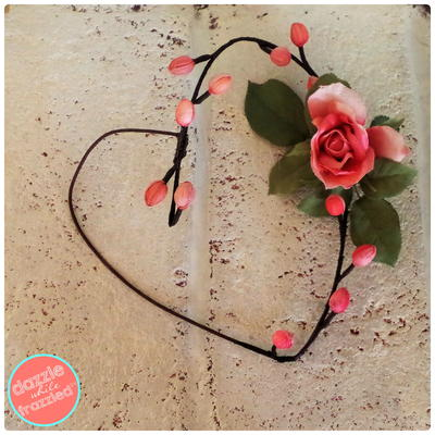 Faux Flower Heart Wreath