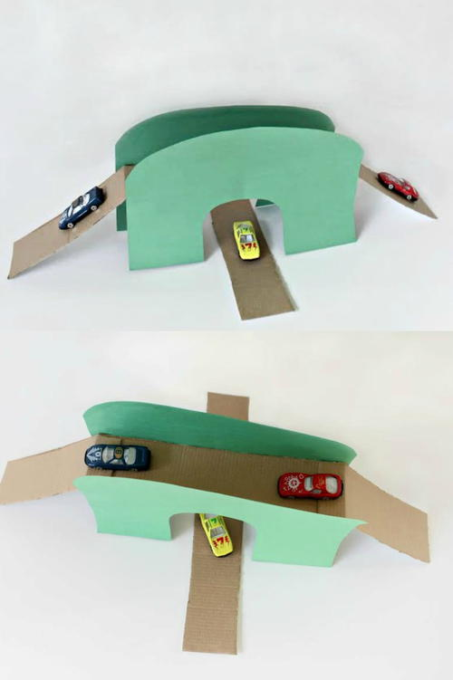 DIY Toy Car Bridge & Tunnel