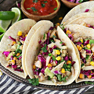 Vegan Fish Tacos with Cilantro-Lime Slaw