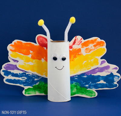 Rainbow Butterfly Toilet Roll Craft