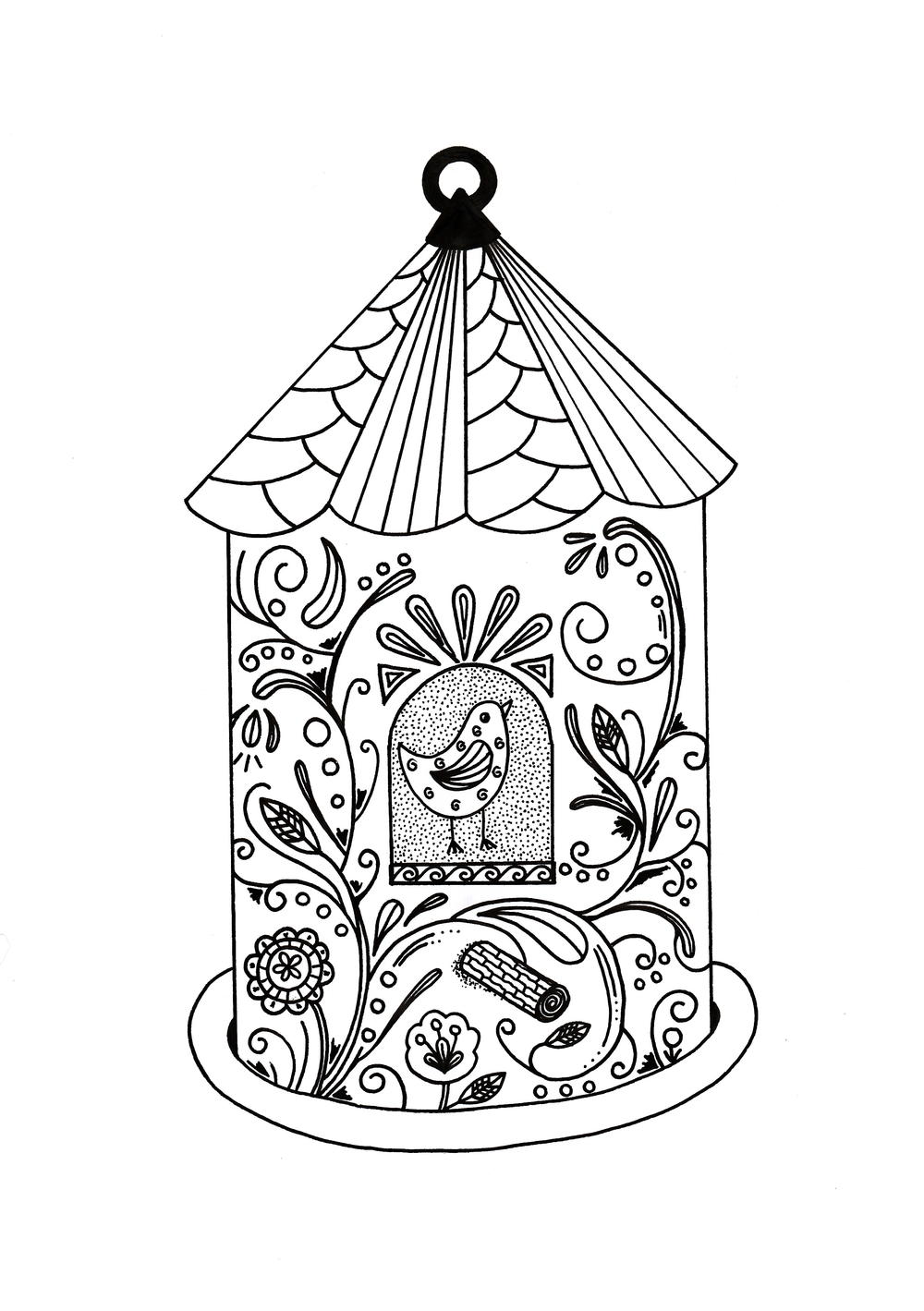 Whimsical Bird House Adult Coloring