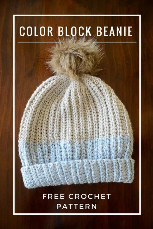 Crochet Color Block Beanie