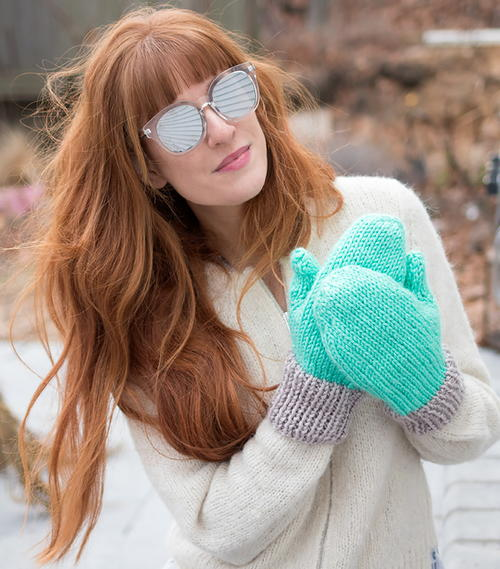 Flat Knit Womens Mittens