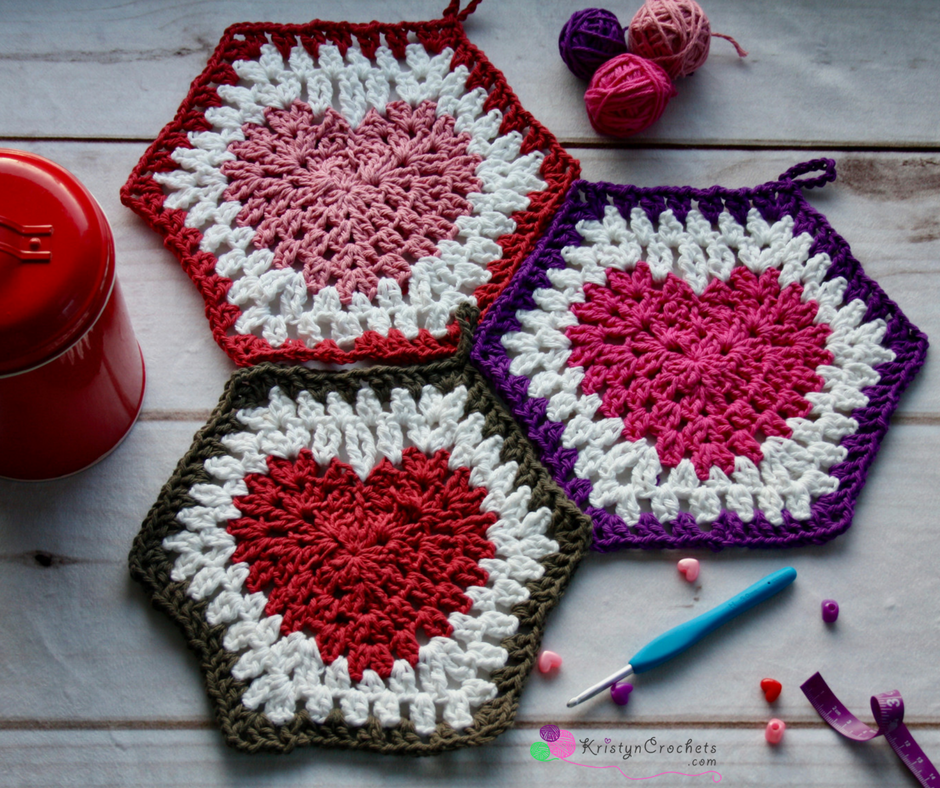 From Heart To Hexagon Hotpad Allfreecrochet