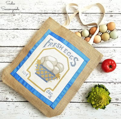Vintage Cross-Stitch DIY Grocery Bag