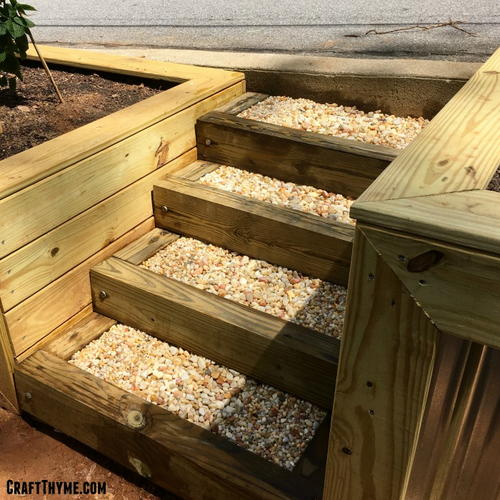 Diy timber and pea gravel stairs for How to build box steps