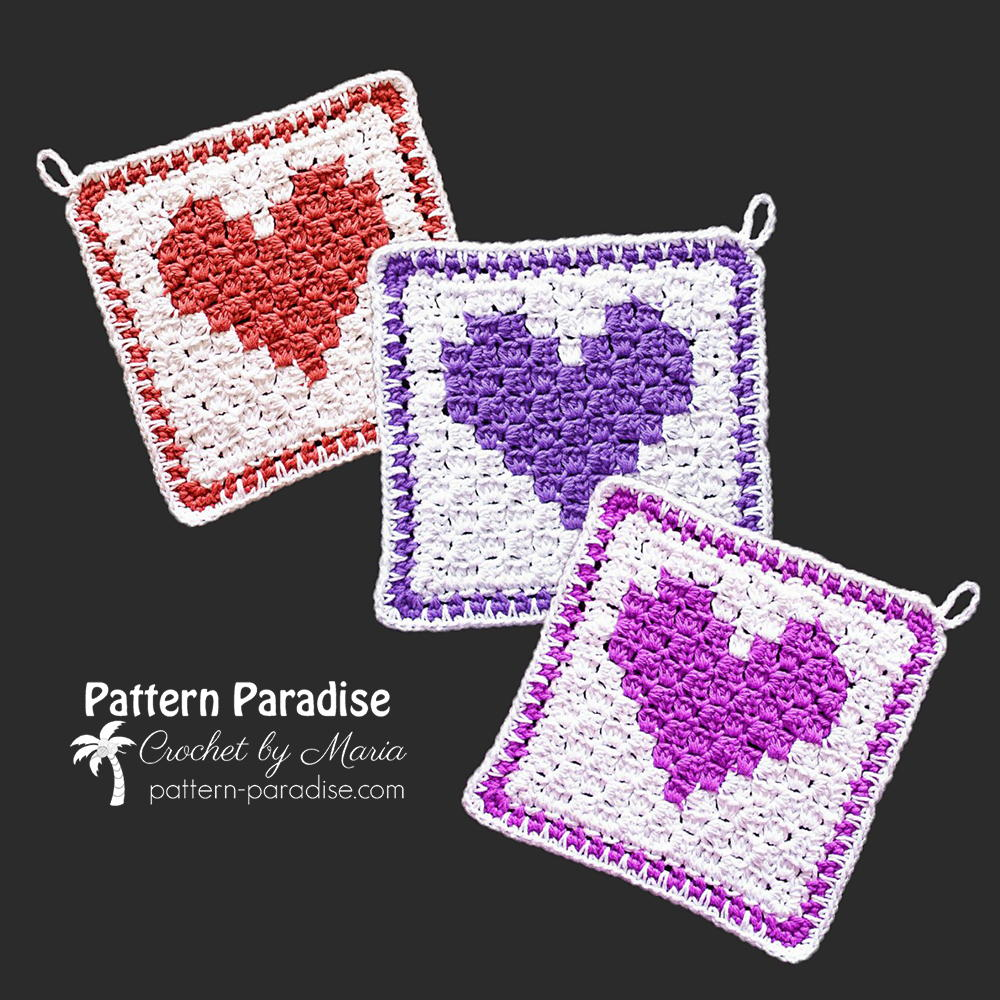 C2C Heart Washcloth | AllFreeCrochet.com