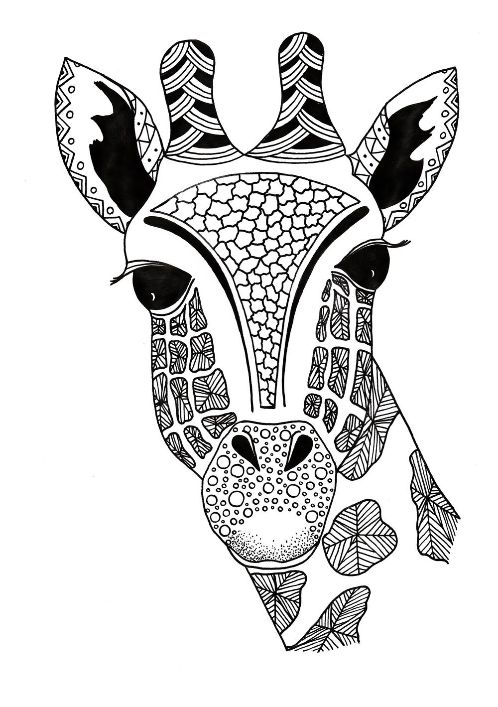 Zentangle Giraffe Printable Coloring Page ...