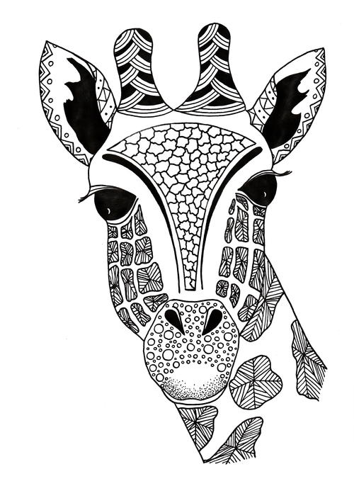 Zentangle Giraffe Printable Coloring Page