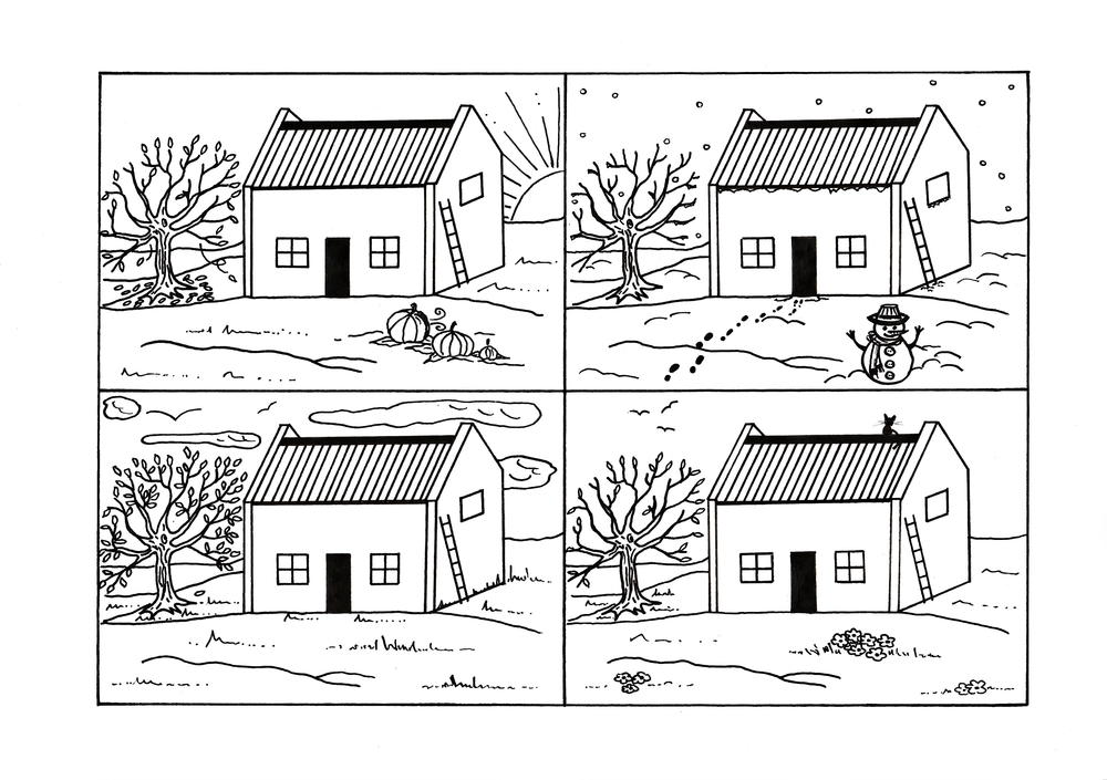 Four Seasons Country Cottage Coloring