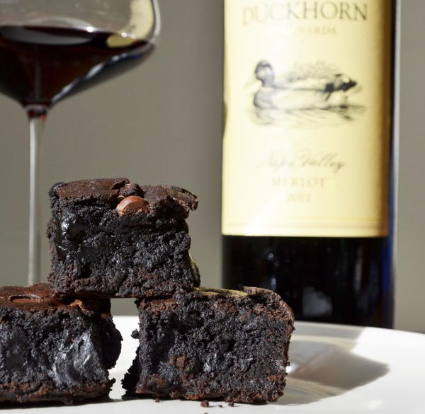 Extra dark chocolate cocoa powder red wine brownies