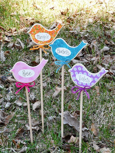 Colorful Bird Garden Markers