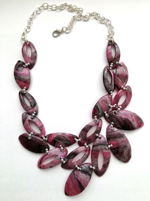 Asymmetrical Plum Clay Necklace