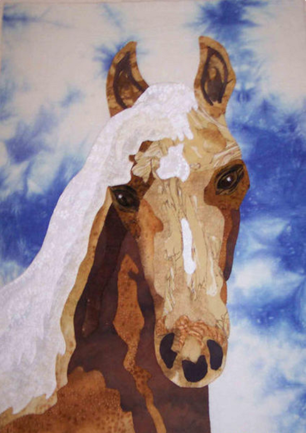 Fabric Portrait of a Horse Quilt Block