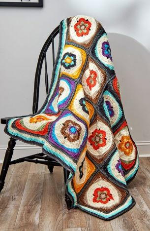 Groovy Flower Power Crochet Blanket