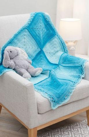 Adorable Nine Blocks Crochet Baby Blanket