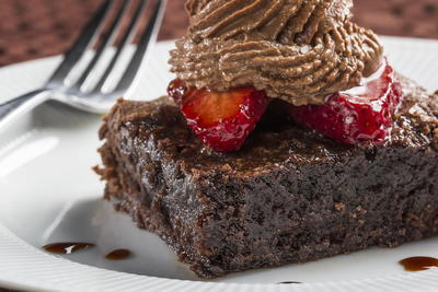 Strawberry and Chocolate Mousse Topped Brownies