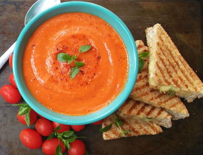 Spiced Tomato Soup with Grilled Sandiwiches