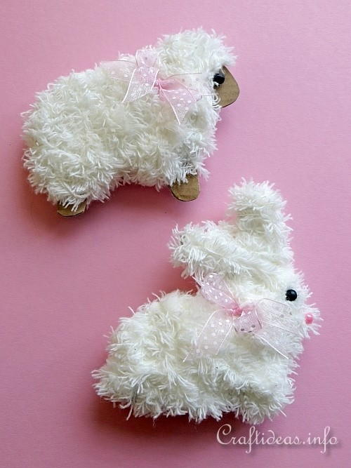 Furry Sheep and Bunny Ornaments