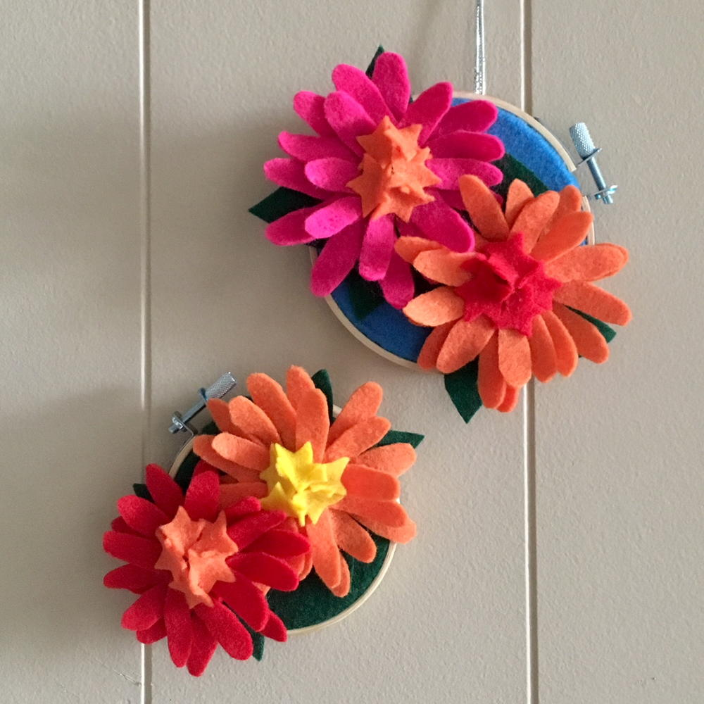 Zinnia Felt Flower Embroidery Hoop Art | FaveCrafts.com