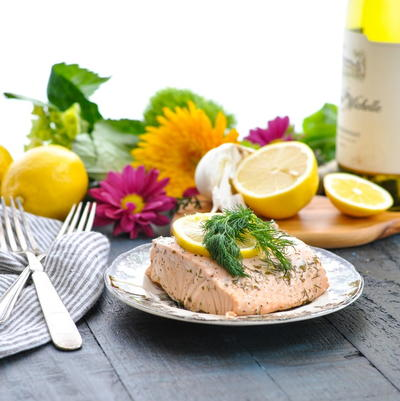 Garlic and Herb Poached Salmon